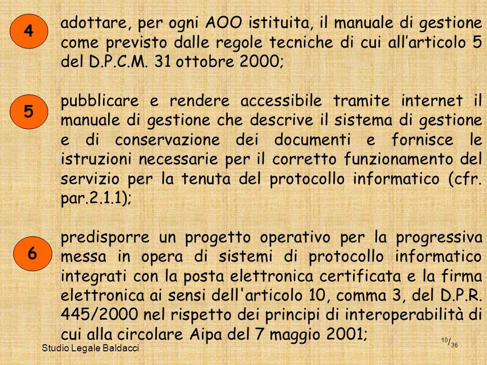 Studio Legale Baldacci 10 / 36 adottare, per ogni AOO istituita, il manuale di gestione come previsto dalle regole tecniche di cui allarticolo 5 del D