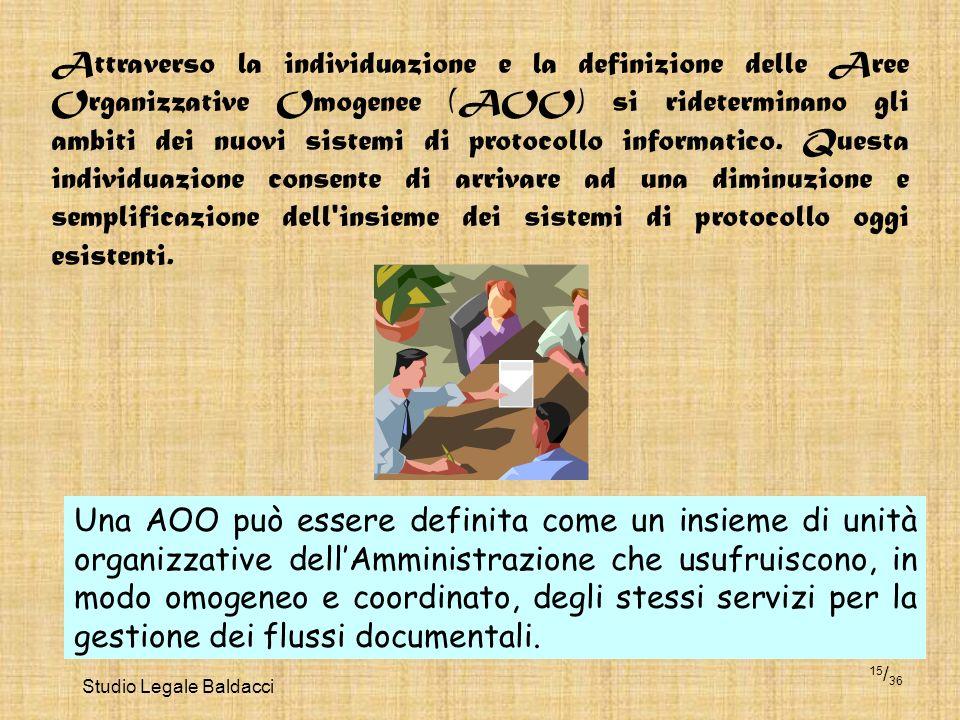 Studio Legale Baldacci 15 / 36 Attraverso la individuazione e la definizione delle Aree Organizzative Omogenee (AOO) si rideterminano gli ambiti dei n