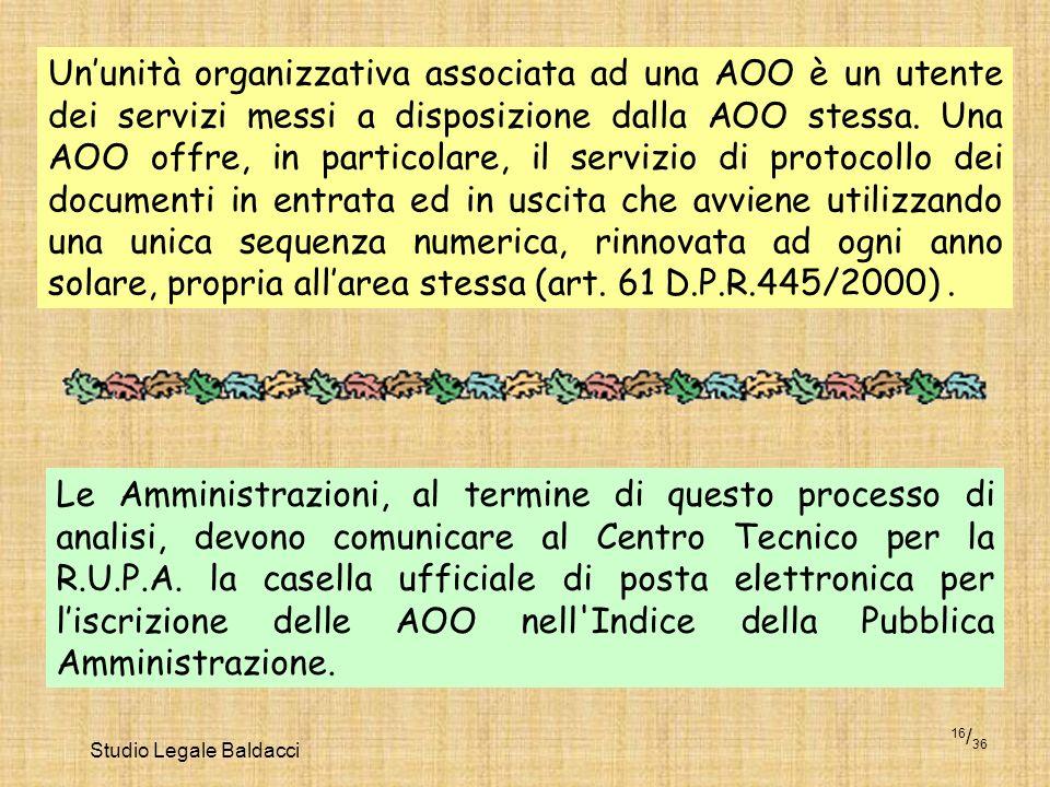 Studio Legale Baldacci 16 / 36 Ununità organizzativa associata ad una AOO è un utente dei servizi messi a disposizione dalla AOO stessa. Una AOO offre