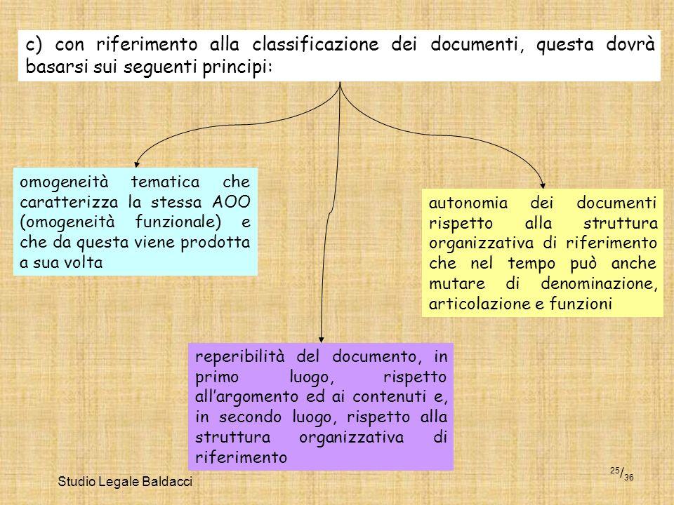 Studio Legale Baldacci 25 / 36 c) con riferimento alla classificazione dei documenti, questa dovrà basarsi sui seguenti principi: omogeneità tematica
