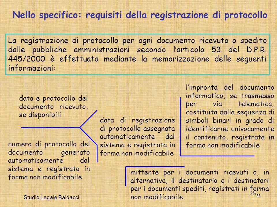 Studio Legale Baldacci 26 / 36 Nello specifico: requisiti della registrazione di protocollo La registrazione di protocollo per ogni documento ricevuto