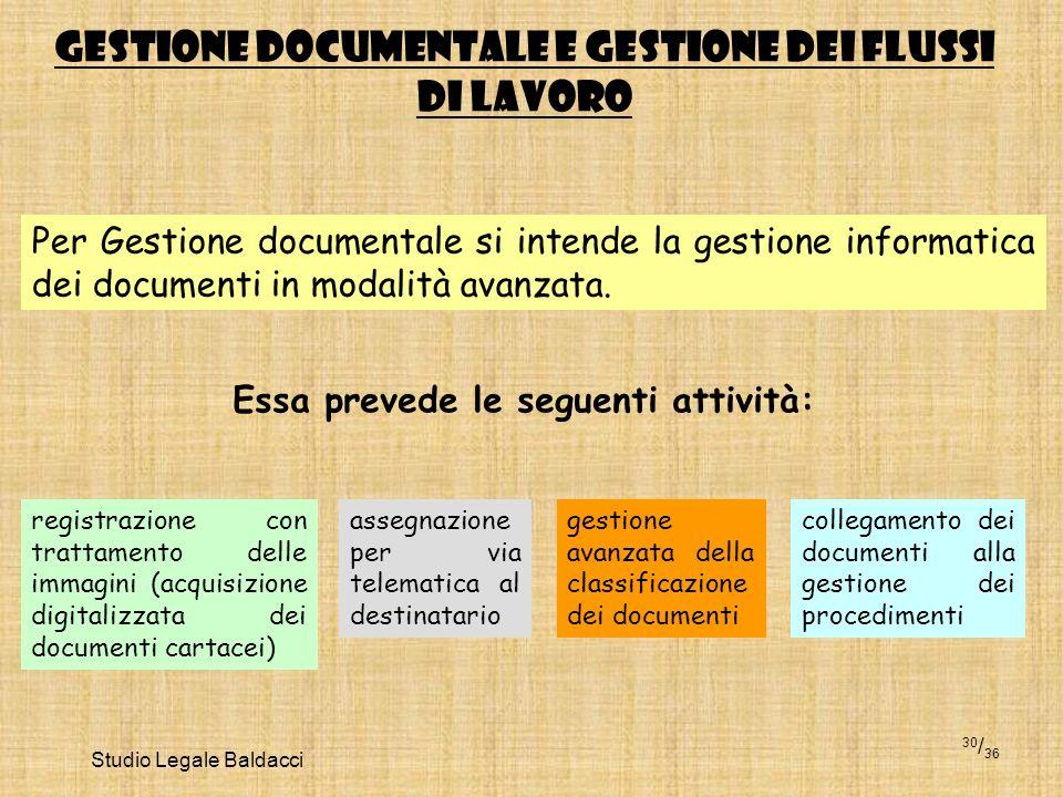 Studio Legale Baldacci 30 / 36 GESTIONE DOCUMENTALE E GESTIONE DEI FLUSSI DI LAVORO Per Gestione documentale si intende la gestione informatica dei do