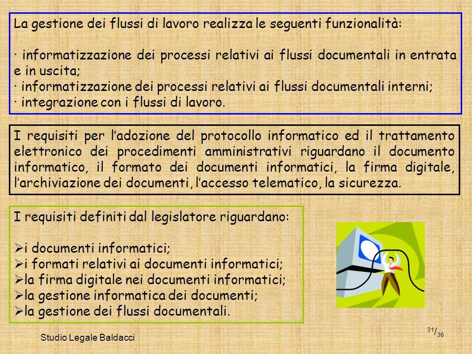 Studio Legale Baldacci 31 / 36 La gestione dei flussi di lavoro realizza le seguenti funzionalità: · informatizzazione dei processi relativi ai flussi