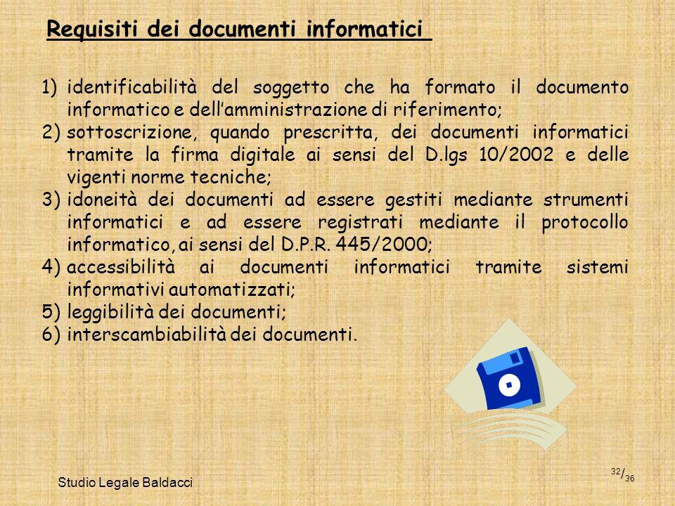 Studio Legale Baldacci 32 / 36 Requisiti dei documenti informatici 1)identificabilità del soggetto che ha formato il documento informatico e dellammin