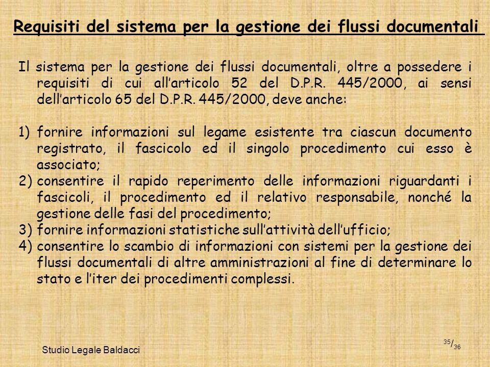 Studio Legale Baldacci 35 / 36 Il sistema per la gestione dei flussi documentali, oltre a possedere i requisiti di cui allarticolo 52 del D.P.R. 445/2
