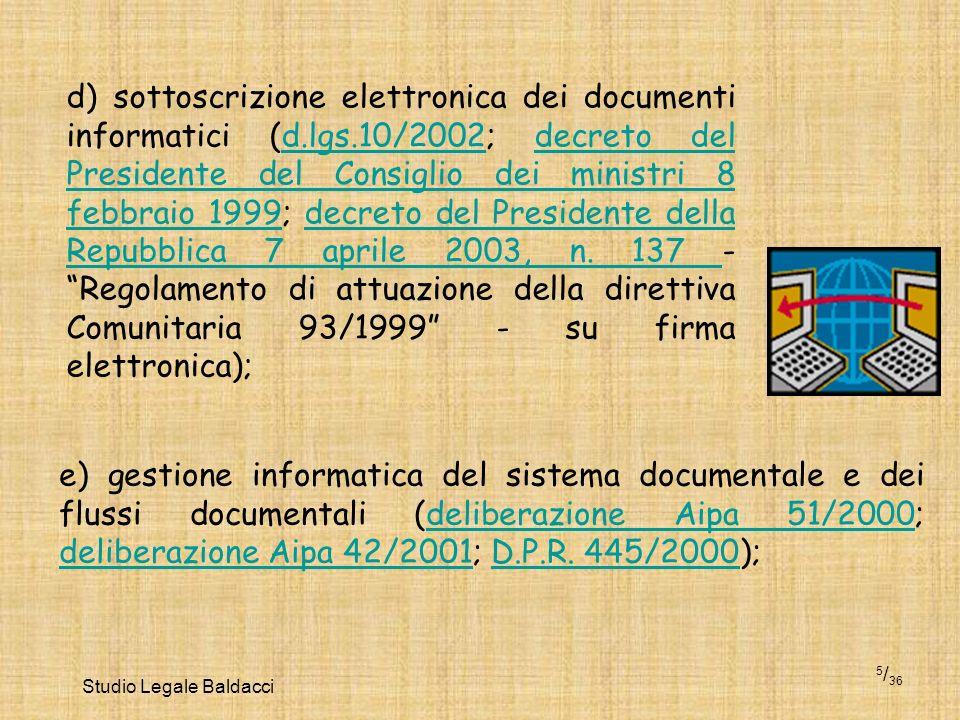 Studio Legale Baldacci 5 / 36 d) sottoscrizione elettronica dei documenti informatici (d.lgs.10/2002; decreto del Presidente del Consiglio dei ministr