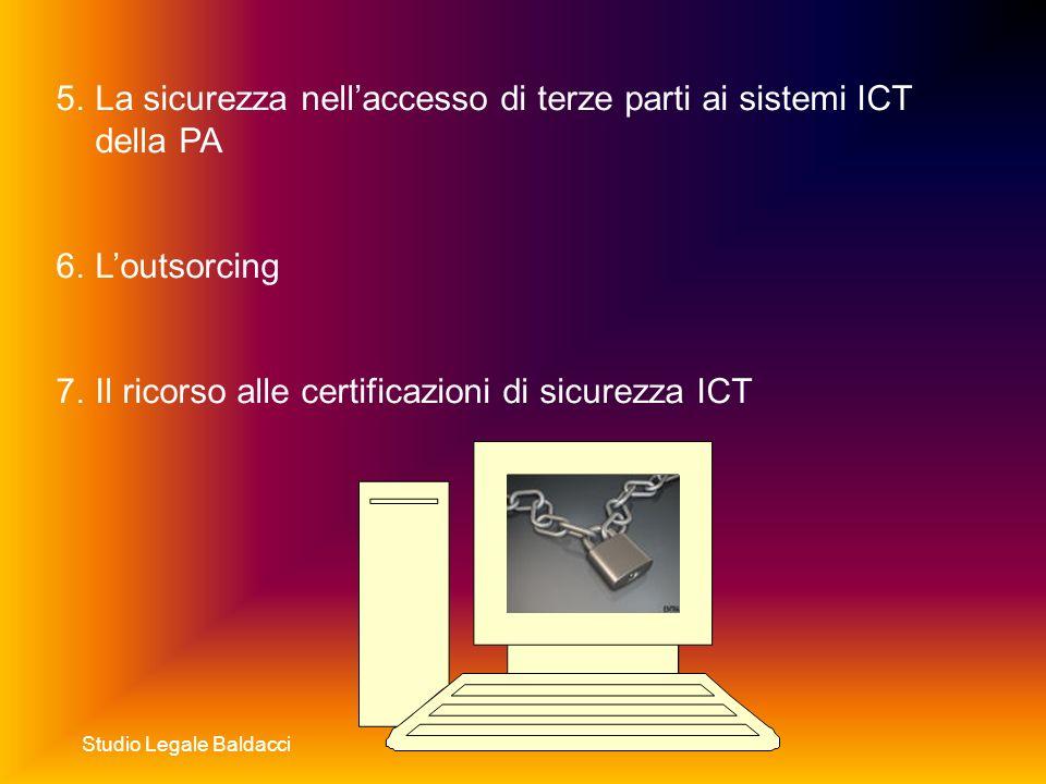 Studio Legale Baldacci 5.La sicurezza nellaccesso di terze parti ai sistemi ICT della PA 6.Loutsorcing 7.Il ricorso alle certificazioni di sicurezza ICT