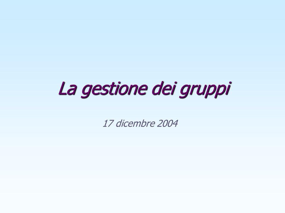 La gestione dei gruppi 17 dicembre 2004