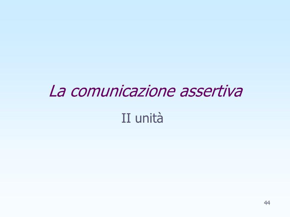 La comunicazione assertiva II unità 44