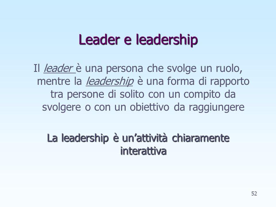 Leader e leadership Il leader è una persona che svolge un ruolo, mentre la leadership è una forma di rapporto tra persone di solito con un compito da svolgere o con un obiettivo da raggiungere La leadership è unattività chiaramente interattiva 52