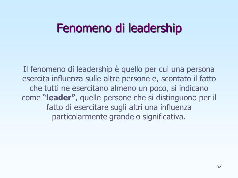 Fenomeno di leadership Il fenomeno di leadership è quello per cui una persona esercita influenza sulle altre persone e, scontato il fatto che tutti ne esercitano almeno un poco, si indicano come leader, quelle persone che si distinguono per il fatto di esercitare sugli altri una influenza particolarmente grande o significativa.