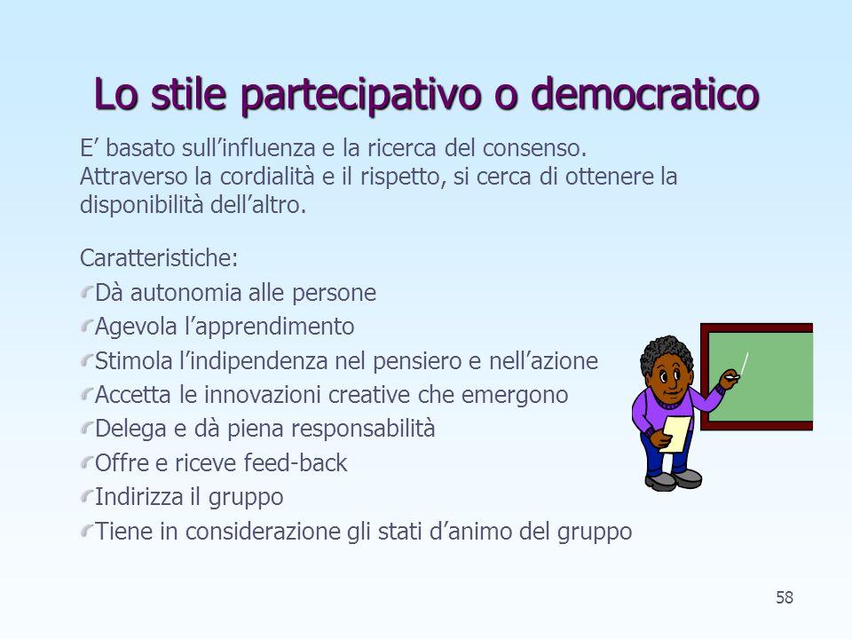 Lo stile partecipativo o democratico E basato sullinfluenza e la ricerca del consenso.
