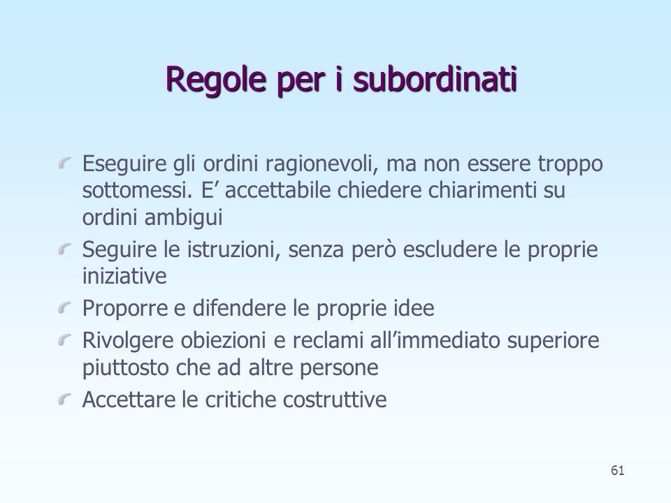 Regole per i subordinati Eseguire gli ordini ragionevoli, ma non essere troppo sottomessi.