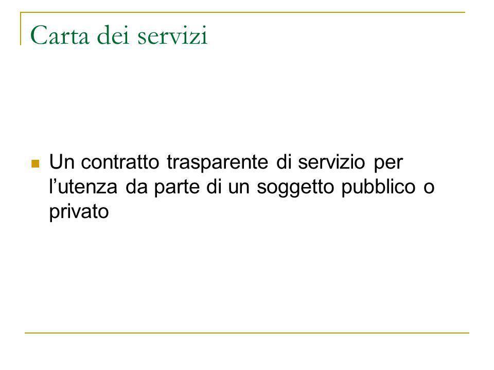Carta dei servizi Un contratto trasparente di servizio per lutenza da parte di un soggetto pubblico o privato