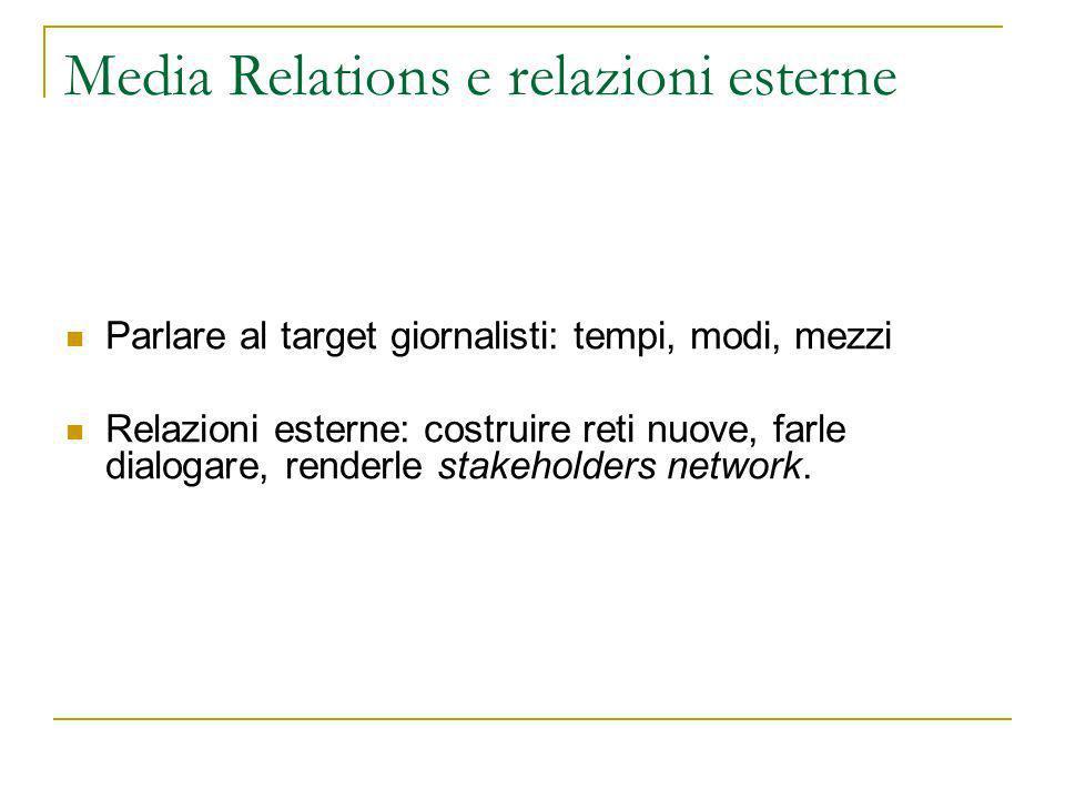 Media Relations e relazioni esterne Parlare al target giornalisti: tempi, modi, mezzi Relazioni esterne: costruire reti nuove, farle dialogare, renderle stakeholders network.