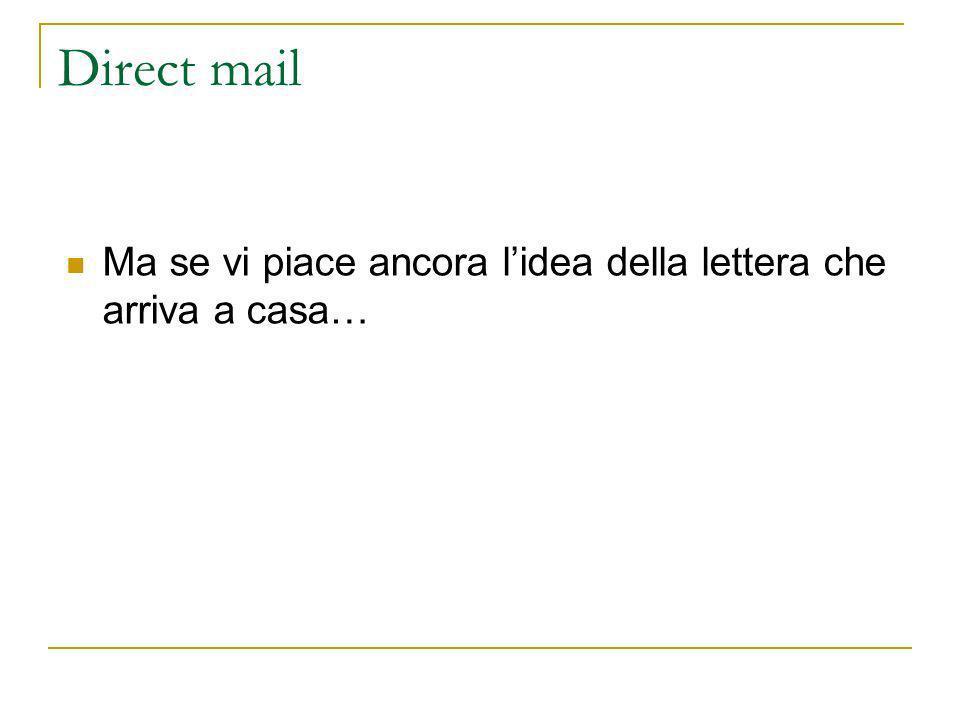 Direct mail Ma se vi piace ancora lidea della lettera che arriva a casa…