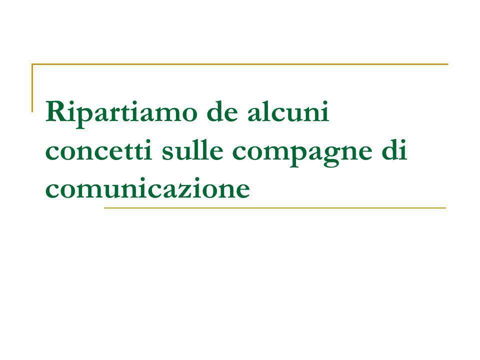 Ripartiamo de alcuni concetti sulle compagne di comunicazione