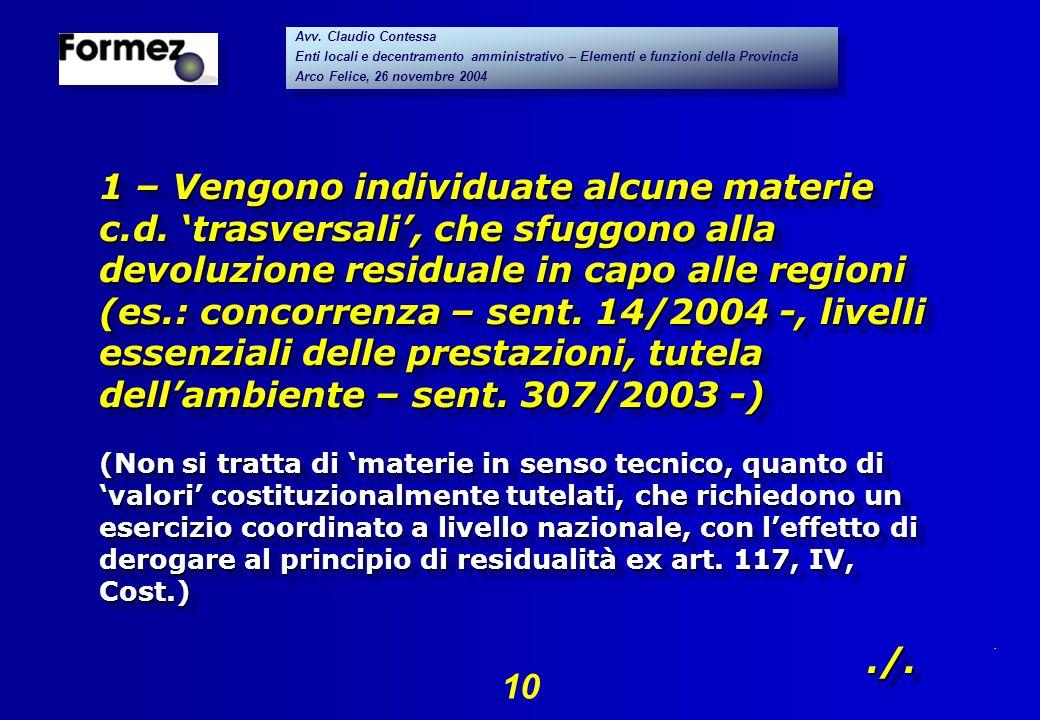 . 10 Avv. Claudio Contessa Enti locali e decentramento amministrativo – Elementi e funzioni della Provincia Arco Felice, 26 novembre 2004 Avv. Claudio