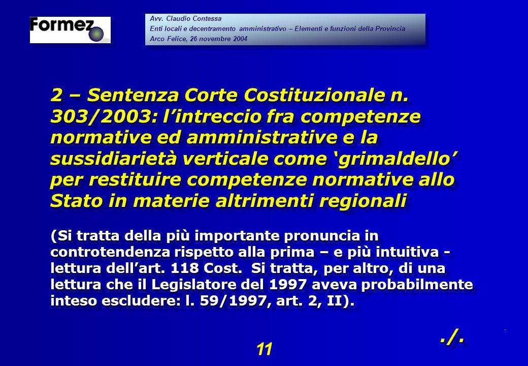 . 11 Avv. Claudio Contessa Enti locali e decentramento amministrativo – Elementi e funzioni della Provincia Arco Felice, 26 novembre 2004 Avv. Claudio