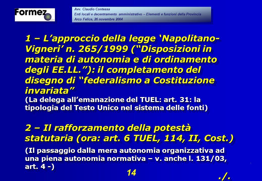 . 14 Avv. Claudio Contessa Enti locali e decentramento amministrativo – Elementi e funzioni della Provincia Arco Felice, 26 novembre 2004 Avv. Claudio