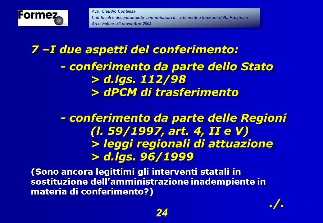 . 24 Avv. Claudio Contessa Enti locali e decentramento amministrativo – Elementi e funzioni della Provincia Arco Felice, 26 novembre 2004 Avv. Claudio