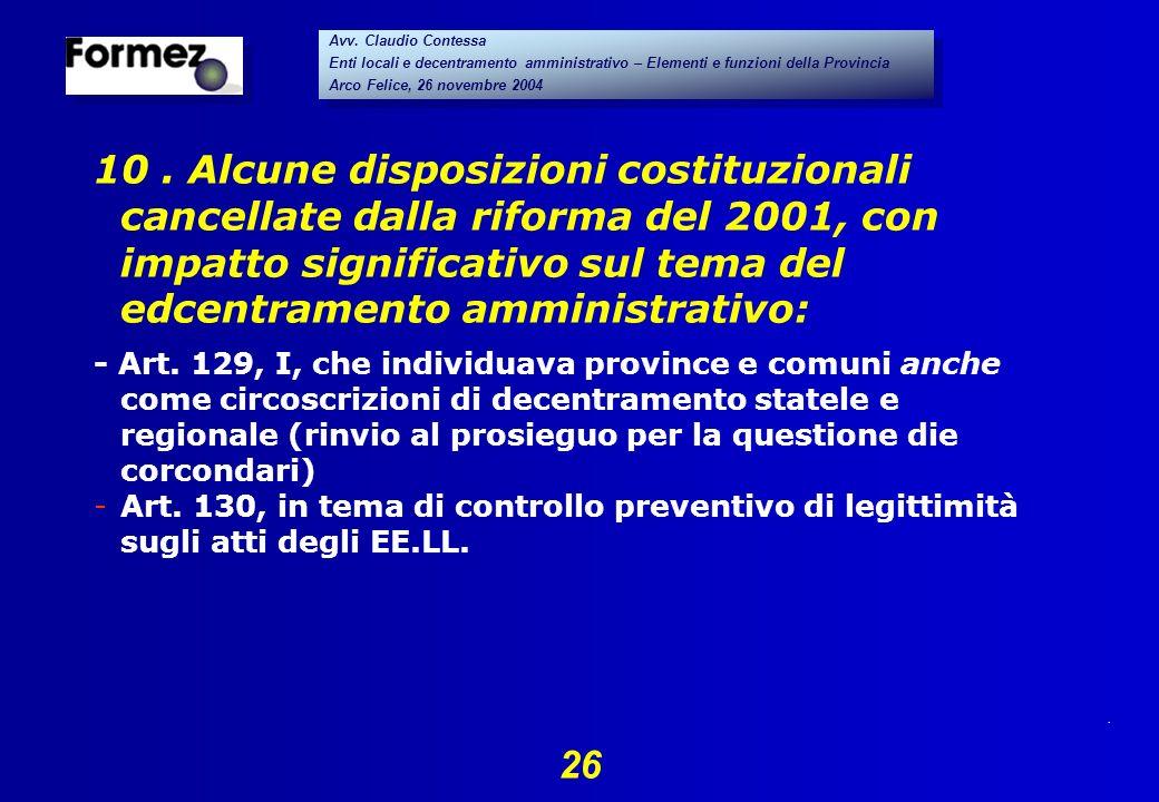 . 26 Avv. Claudio Contessa Enti locali e decentramento amministrativo – Elementi e funzioni della Provincia Arco Felice, 26 novembre 2004 Avv. Claudio