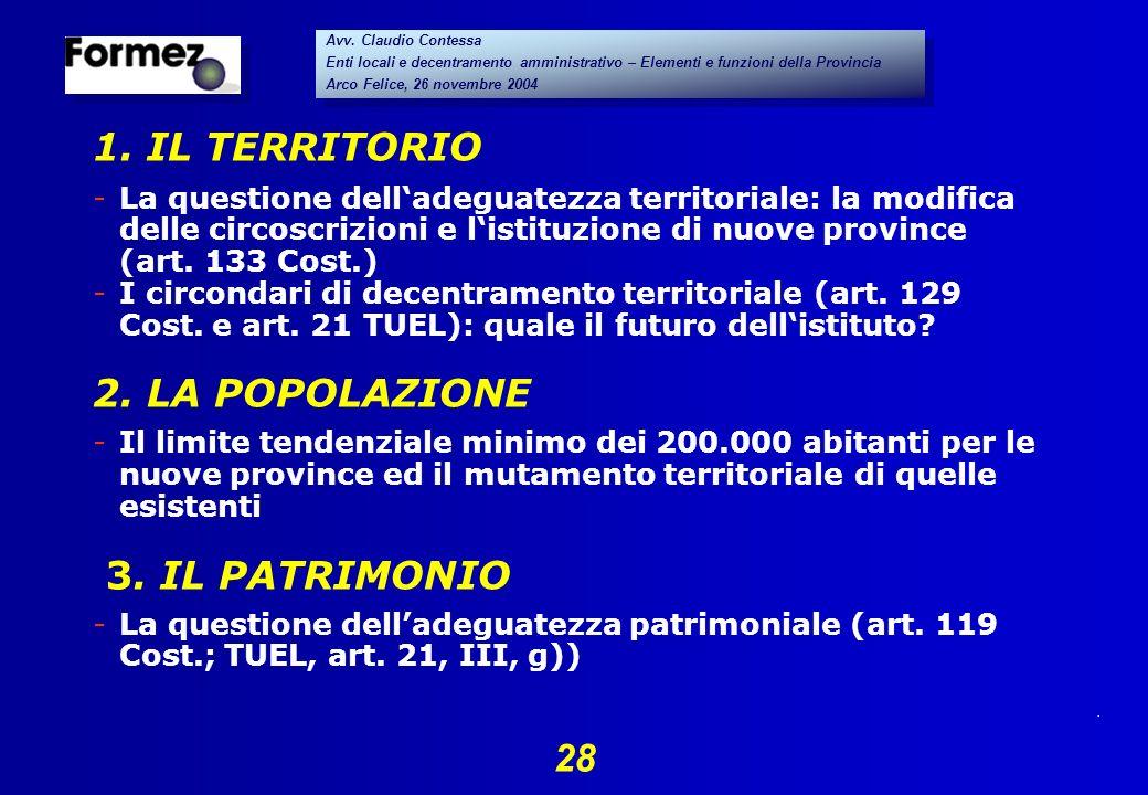 . 28 Avv. Claudio Contessa Enti locali e decentramento amministrativo – Elementi e funzioni della Provincia Arco Felice, 26 novembre 2004 Avv. Claudio