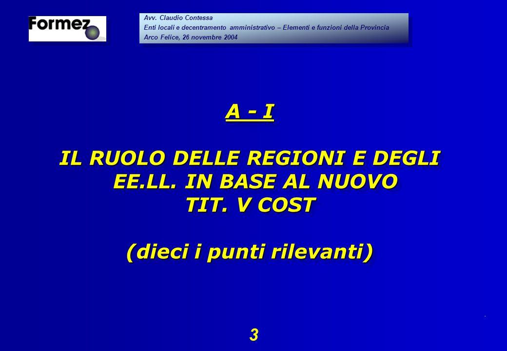 . 3 Avv. Claudio Contessa Enti locali e decentramento amministrativo – Elementi e funzioni della Provincia Arco Felice, 26 novembre 2004 Avv. Claudio