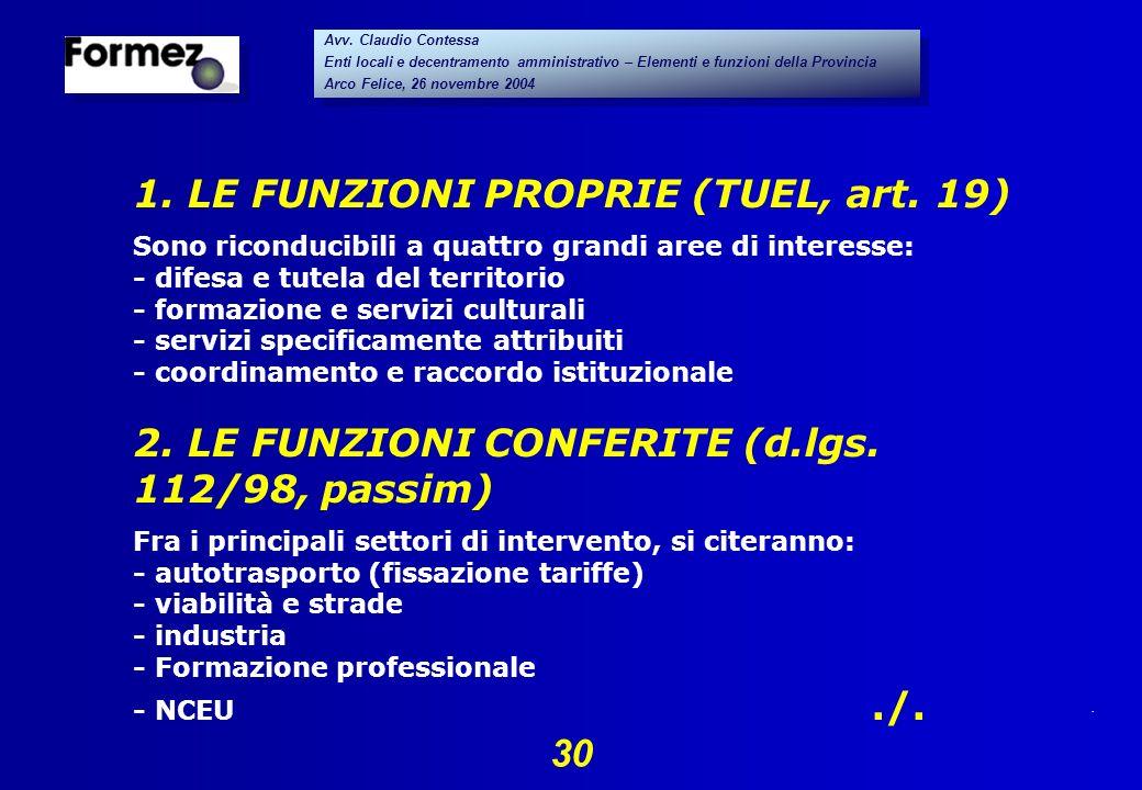 . 30 Avv. Claudio Contessa Enti locali e decentramento amministrativo – Elementi e funzioni della Provincia Arco Felice, 26 novembre 2004 Avv. Claudio