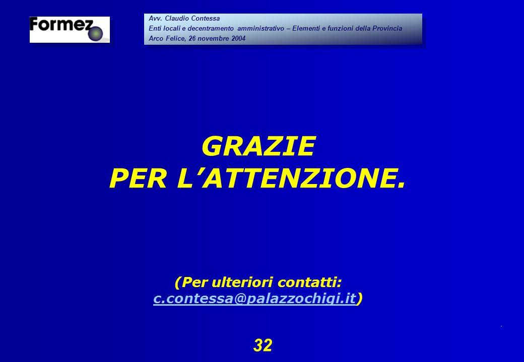 . 32 Avv. Claudio Contessa Enti locali e decentramento amministrativo – Elementi e funzioni della Provincia Arco Felice, 26 novembre 2004 Avv. Claudio