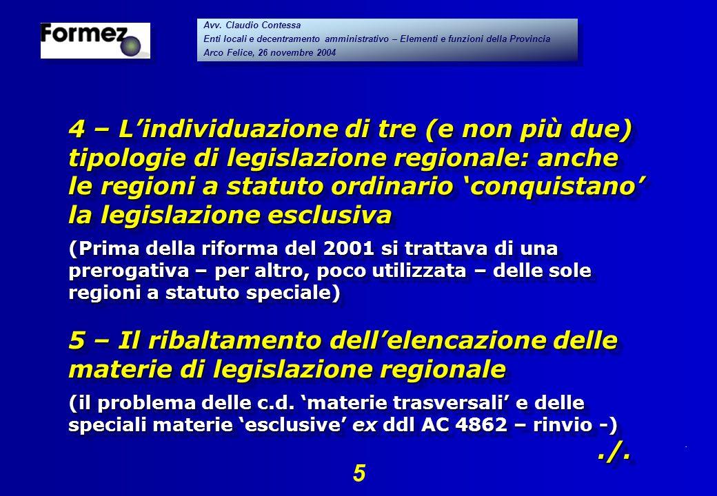 . 5 Avv. Claudio Contessa Enti locali e decentramento amministrativo – Elementi e funzioni della Provincia Arco Felice, 26 novembre 2004 Avv. Claudio