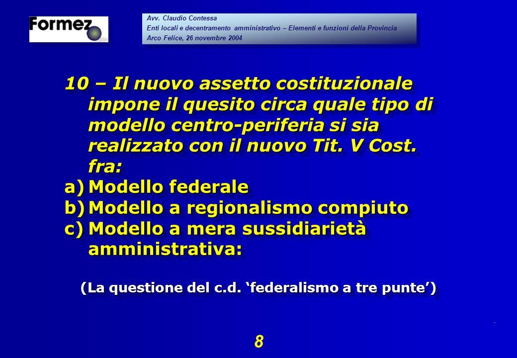 . 8 Avv. Claudio Contessa Enti locali e decentramento amministrativo – Elementi e funzioni della Provincia Arco Felice, 26 novembre 2004 Avv. Claudio