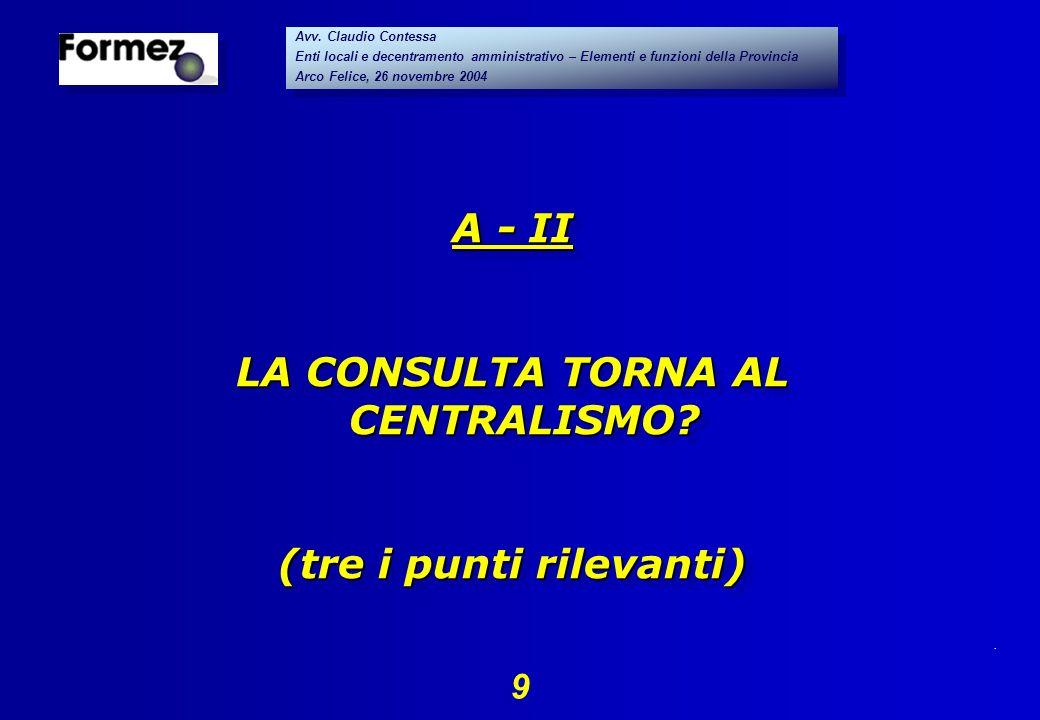 . 9 Avv. Claudio Contessa Enti locali e decentramento amministrativo – Elementi e funzioni della Provincia Arco Felice, 26 novembre 2004 Avv. Claudio