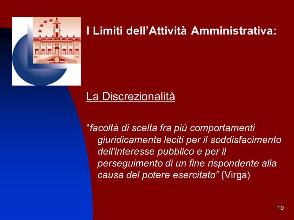 10 I Limiti dellAttività Amministrativa: La Discrezionalità facoltà di scelta fra più comportamenti giuridicamente leciti per il soddisfacimento delli