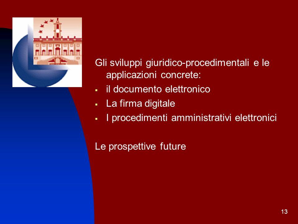 13 Gli sviluppi giuridico-procedimentali e le applicazioni concrete: il documento elettronico La firma digitale I procedimenti amministrativi elettron