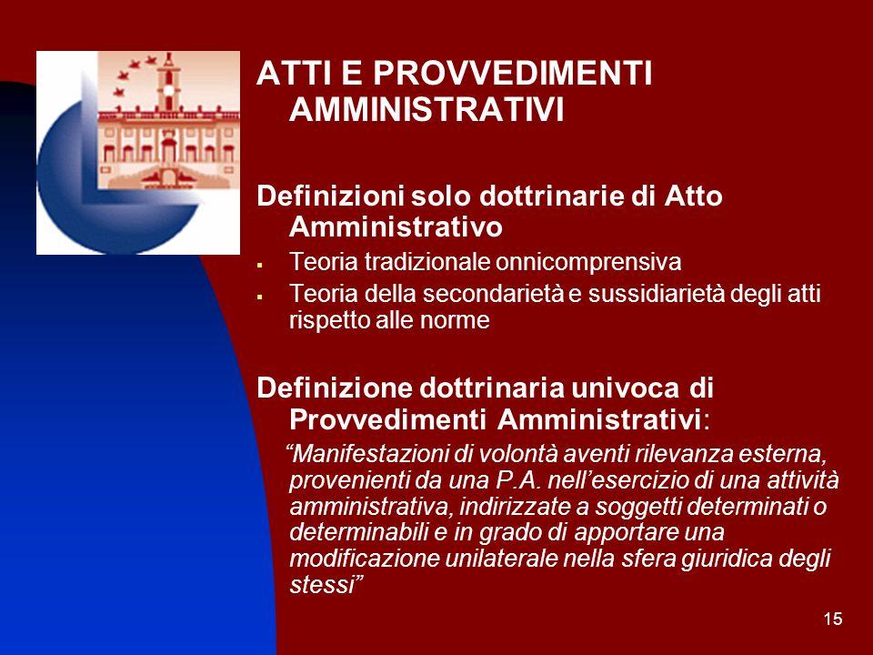 15 ATTI E PROVVEDIMENTI AMMINISTRATIVI Definizioni solo dottrinarie di Atto Amministrativo Teoria tradizionale onnicomprensiva Teoria della secondarie