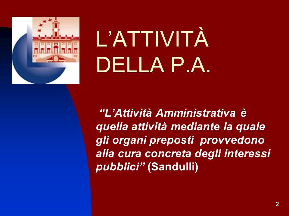 2 LATTIVITÀ DELLA P.A. LAttività Amministrativa è quella attività mediante la quale gli organi preposti provvedono alla cura concreta degli interessi