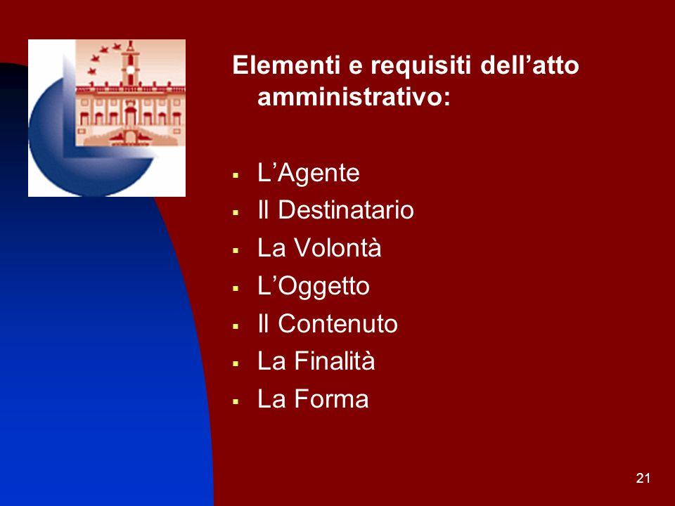 21 Elementi e requisiti dellatto amministrativo: LAgente Il Destinatario La Volontà LOggetto Il Contenuto La Finalità La Forma