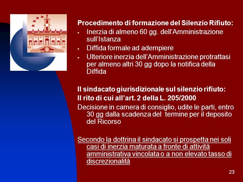 23 Procedimento di formazione del Silenzio Rifiuto: Inerzia di almeno 60 gg. dellAmministrazione sullIstanza Diffida formale ad adempiere Ulteriore in