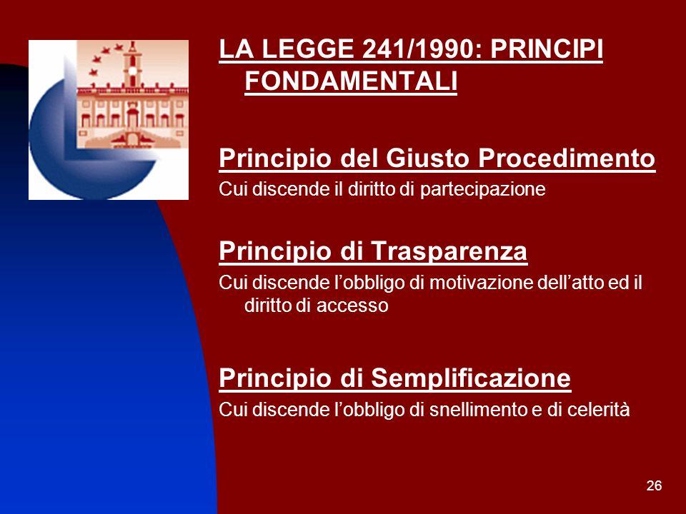 26 LA LEGGE 241/1990: PRINCIPI FONDAMENTALI Principio del Giusto Procedimento Cui discende il diritto di partecipazione Principio di Trasparenza Cui d