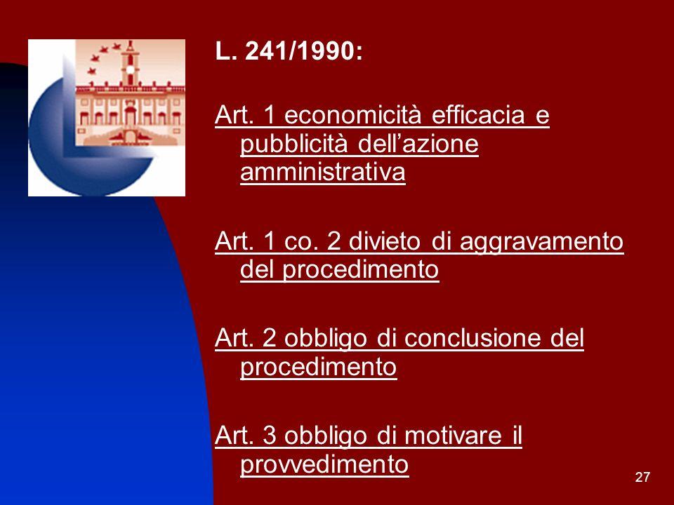 27 L. 241/1990: Art. 1 economicità efficacia e pubblicità dellazione amministrativa Art. 1 co. 2 divieto di aggravamento del procedimento Art. 2 obbli