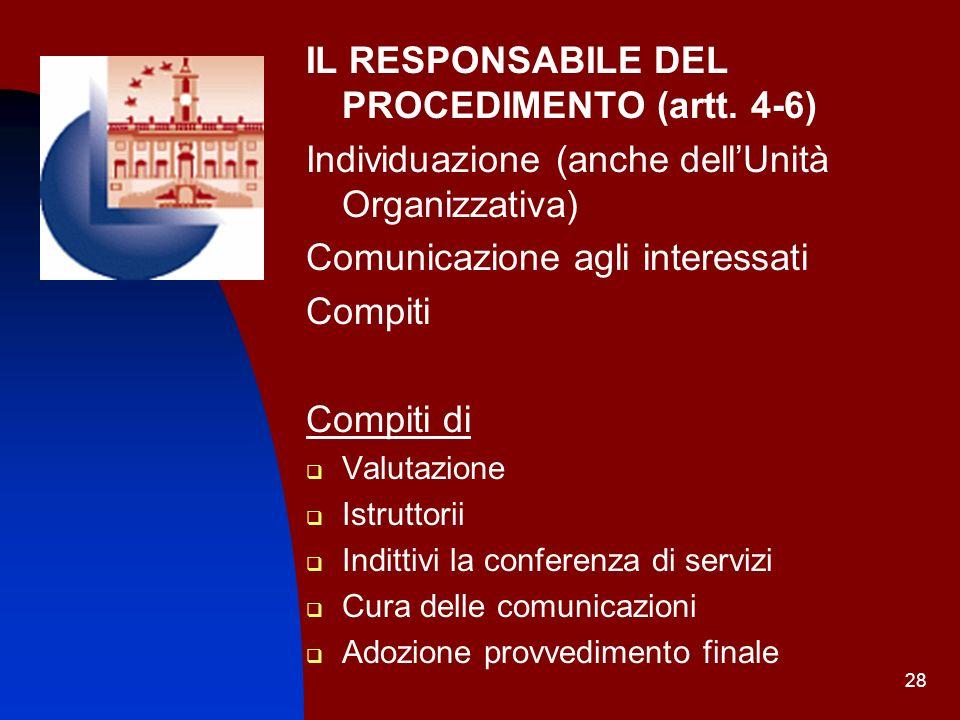 28 IL RESPONSABILE DEL PROCEDIMENTO (artt. 4-6) Individuazione (anche dellUnità Organizzativa) Comunicazione agli interessati Compiti Compiti di Valut