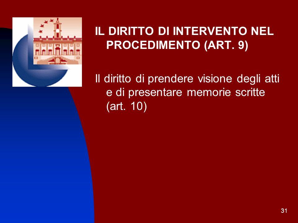 31 IL DIRITTO DI INTERVENTO NEL PROCEDIMENTO (ART. 9) Il diritto di prendere visione degli atti e di presentare memorie scritte (art. 10)