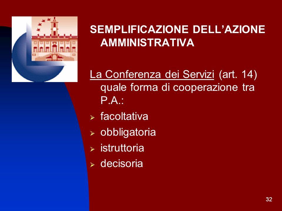 32 SEMPLIFICAZIONE DELLAZIONE AMMINISTRATIVA La Conferenza dei Servizi (art. 14) quale forma di cooperazione tra P.A.: facoltativa obbligatoria istrut