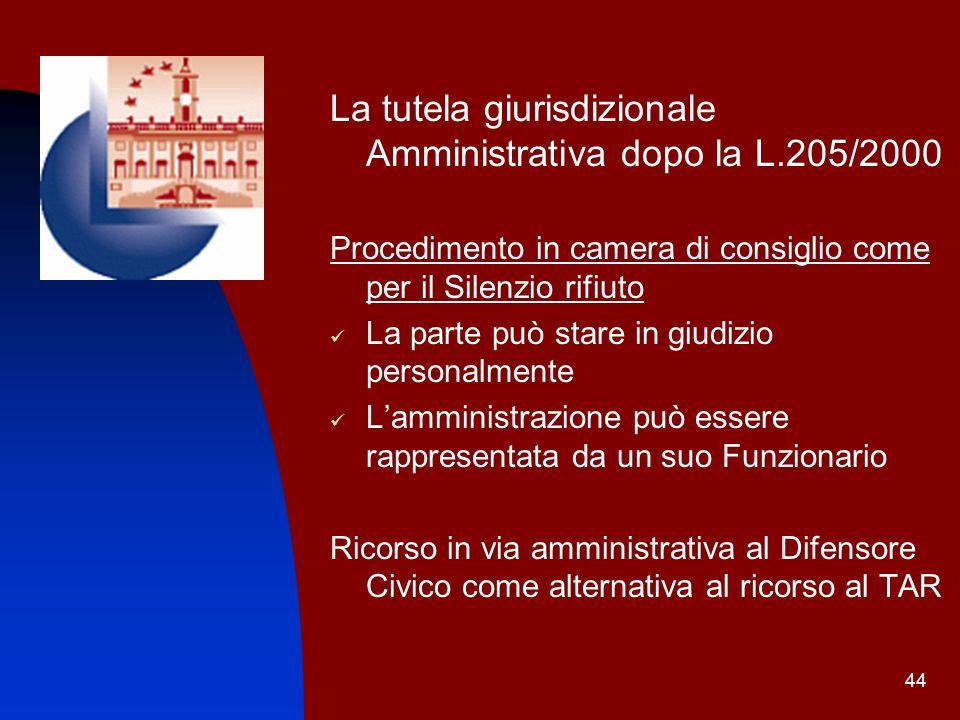 44 La tutela giurisdizionale Amministrativa dopo la L.205/2000 Procedimento in camera di consiglio come per il Silenzio rifiuto La parte può stare in