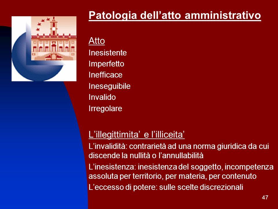 47 Patologia dellatto amministrativo Atto Inesistente Imperfetto Inefficace Ineseguibile Invalido Irregolare Lillegittimita e lilliceita Linvalidità: