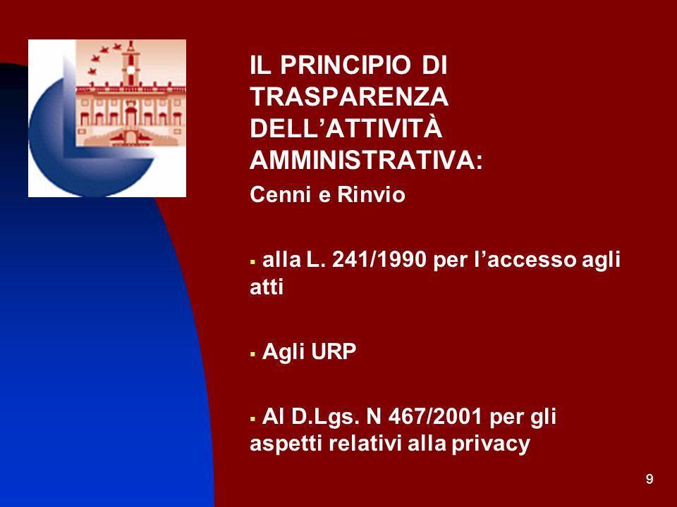 9 IL PRINCIPIO DI TRASPARENZA DELLATTIVITÀ AMMINISTRATIVA: Cenni e Rinvio alla L. 241/1990 per laccesso agli atti Agli URP Al D.Lgs. N 467/2001 per gl