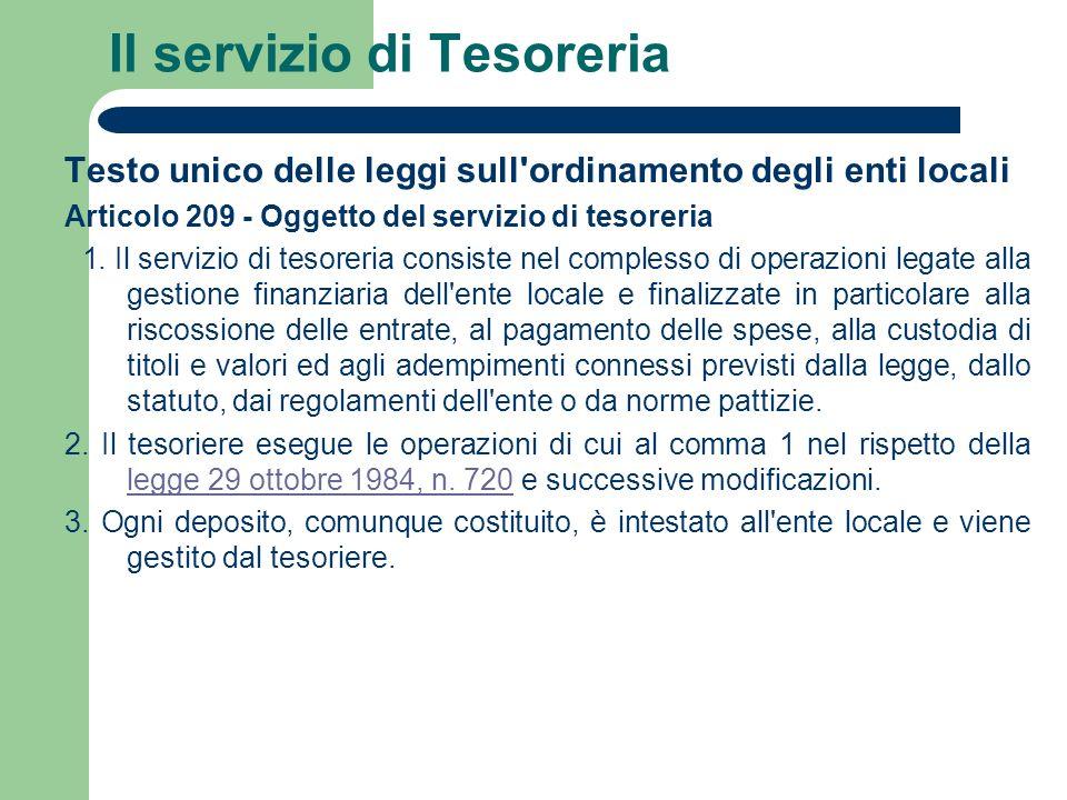 Il servizio di Tesoreria Testo unico delle leggi sull'ordinamento degli enti locali Articolo 209 - Oggetto del servizio di tesoreria 1. Il servizio di