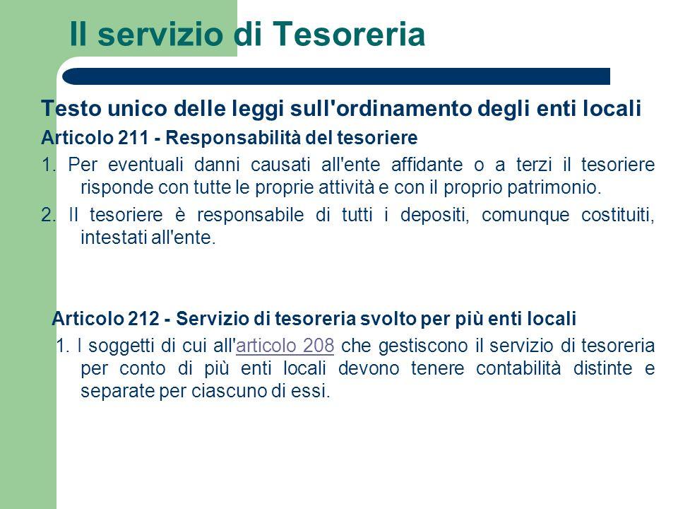 Il servizio di Tesoreria Testo unico delle leggi sull'ordinamento degli enti locali Articolo 211 - Responsabilità del tesoriere 1. Per eventuali danni
