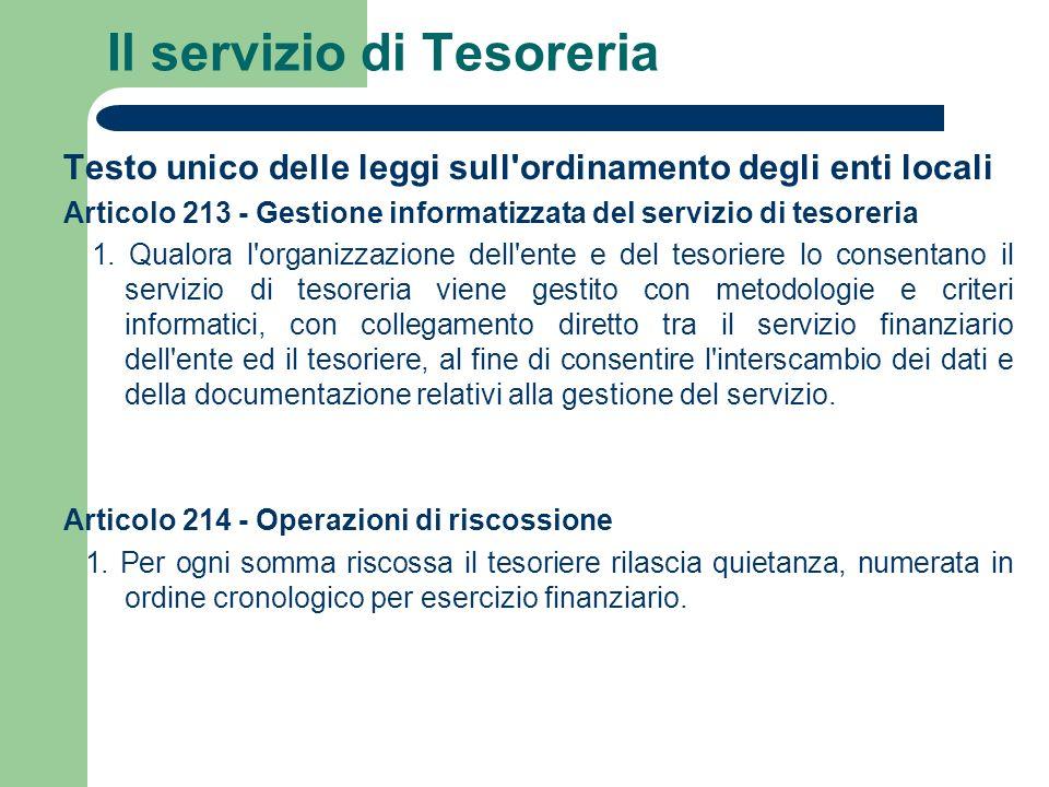 Il servizio di Tesoreria Testo unico delle leggi sull'ordinamento degli enti locali Articolo 213 - Gestione informatizzata del servizio di tesoreria 1